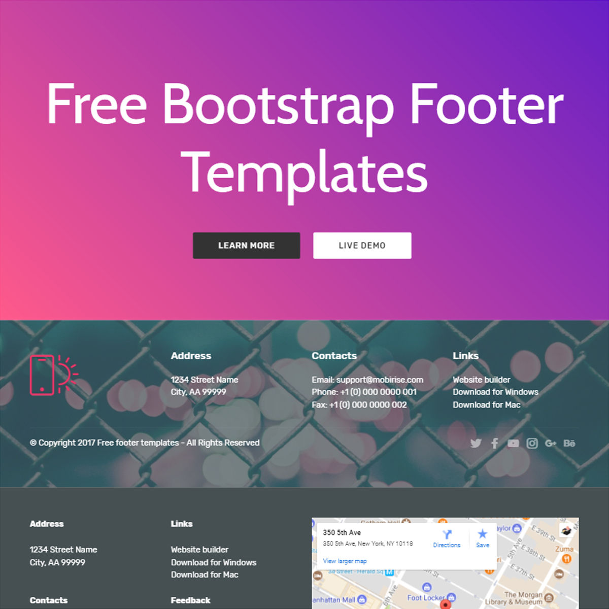 HTML5 Bootstrap  Footer  Templates