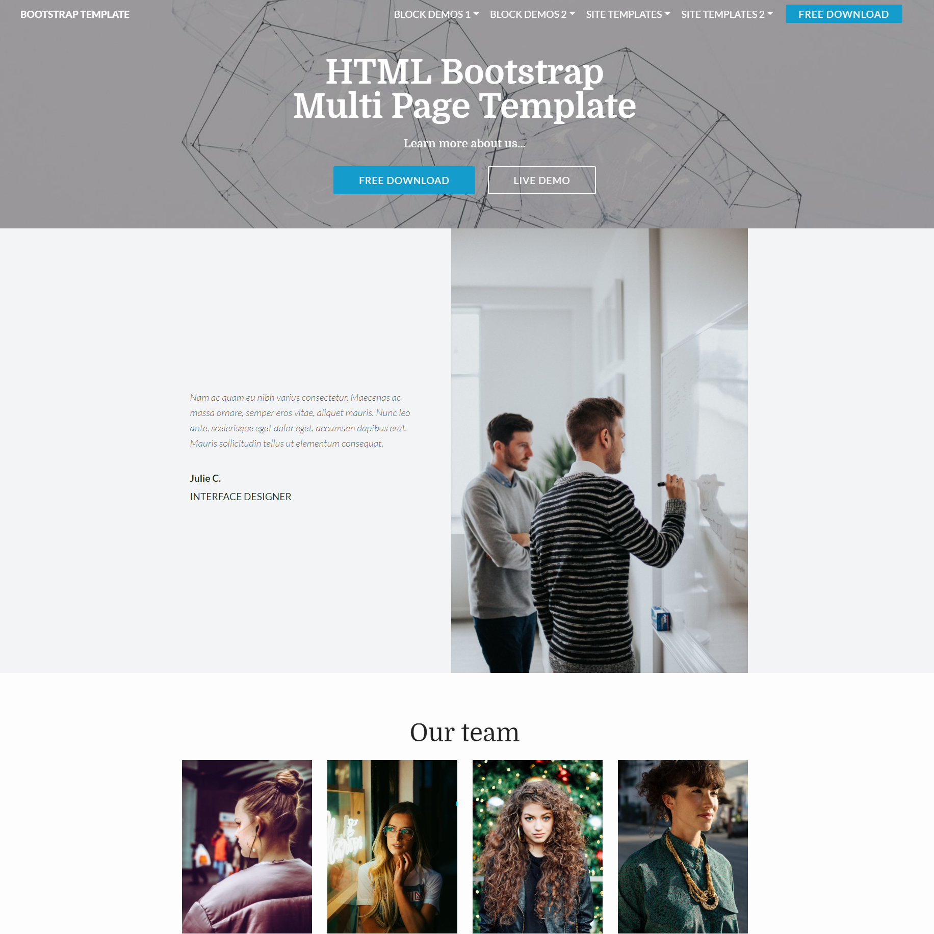 HTML Bootstrap Multi page Templates