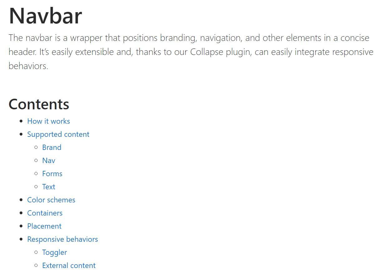Bootstrap Navbar official documentation