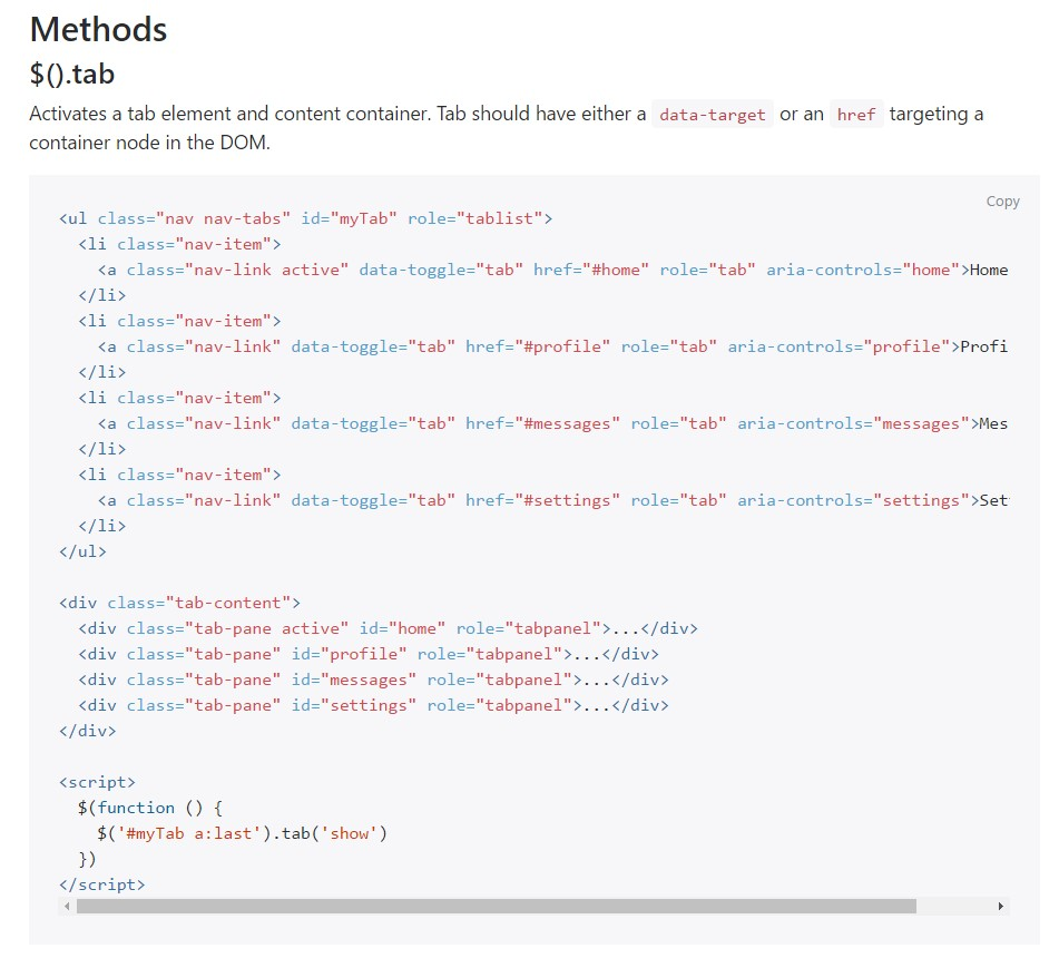 Bootstrap Nav-tabs: authoritative documentation