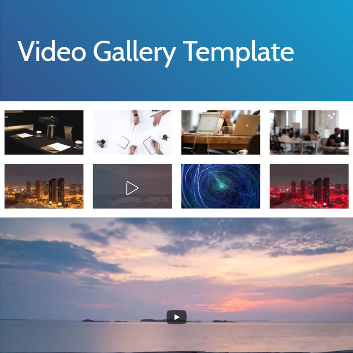 Mobile Bootstrap  video gallery  Templates