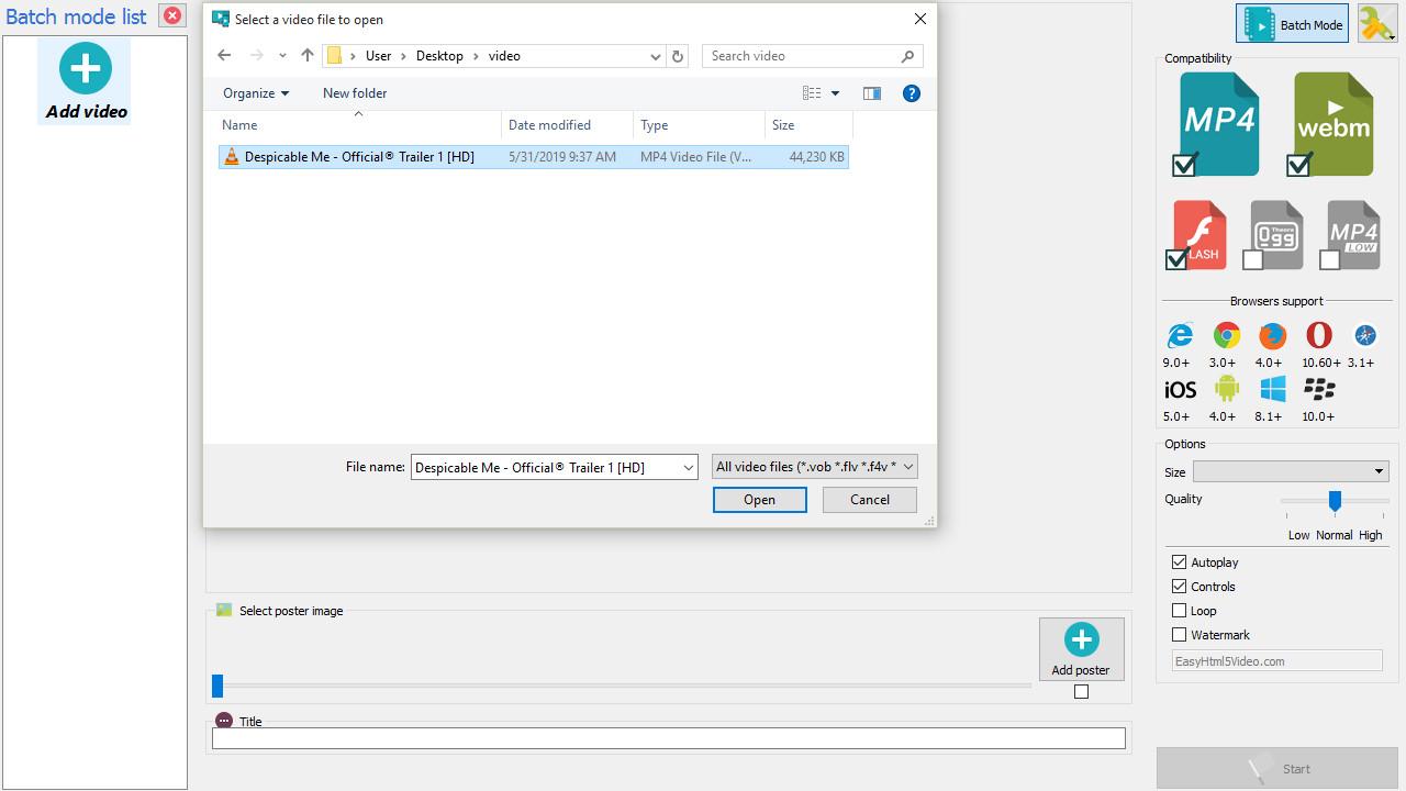 MP4 to HTML5 generator